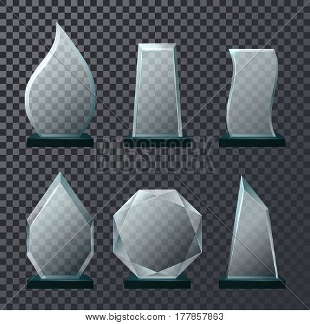 Set of isolated glass empty or blank trophy or glassware victory award, crystal achievement or success, winner symbol on transparent background. Reward and goal, leadership and sport ceremony theme poster