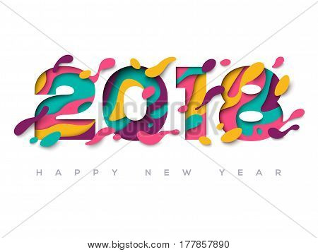 2018 Happy New Year greeting card with abstract paper cut shapes on white background. Vector illustration. Colorful 3D carving art.