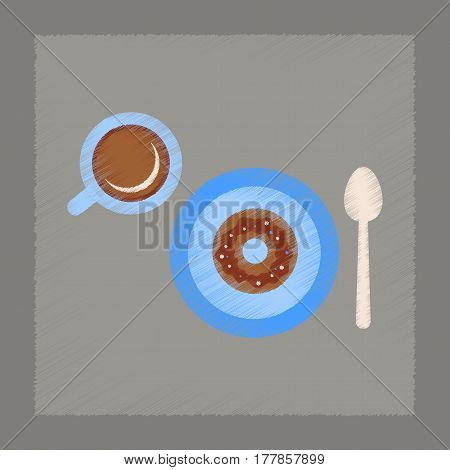 flat shading style icon coffee break cup donut