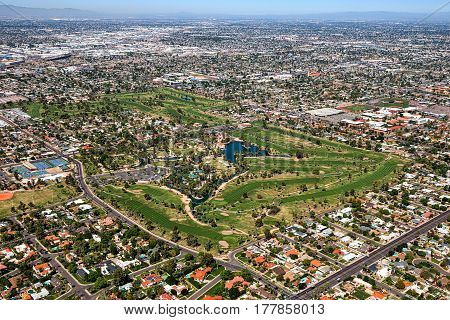 Over Encanto Golf Course and Park Arizona's third oldest golf course and it's historic district in the city of Phoenix Arizona