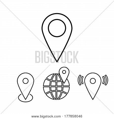 Set of outline map pointers on the white background. Vector design