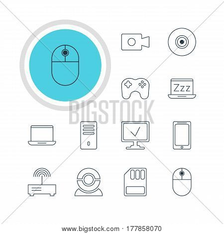 Vector Illustration Of 12 Laptop Icons. Editable Pack Of Web Camera, Gamepad, Smartphone And Other Elements.