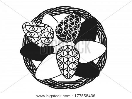 Silhouette Of Vintage Basket With Easter Eggs