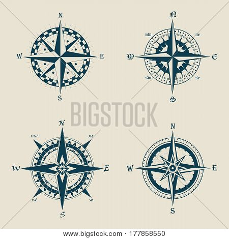 Set of isolated old or retro, vintage compass or wind rose icons. Ocean or sea navigation path finder for longitude and latitude. Discover and travel, heraldry and nautical, marine and ship theme