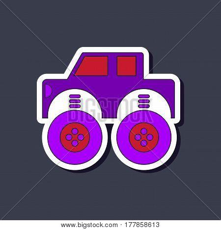 paper sticker on stylish background of Kids toy car