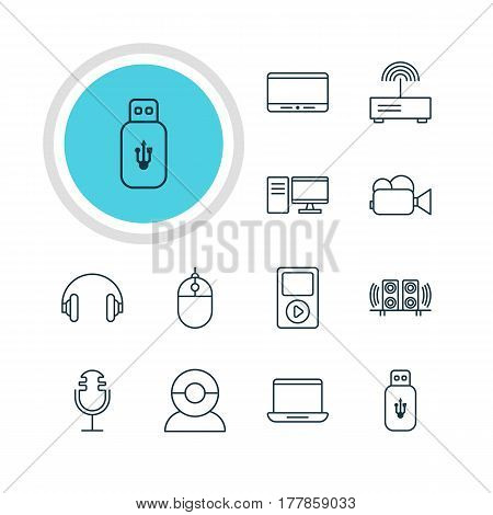 Vector Illustration Of 12 Hardware Icons. Editable Pack Of Sound Recording, PC, Usb Card And Other Elements.