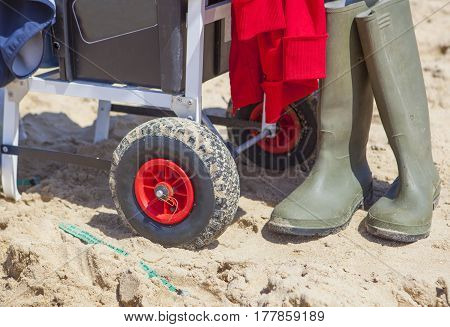 Fisher cart on sea angling competition at the beach Huelva Spain