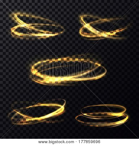 Set of isolated shining rings of light or bokeh in round shape. Abstract glowing light particle movement in circle on transparent background. Celebration or disco flashing banner theme