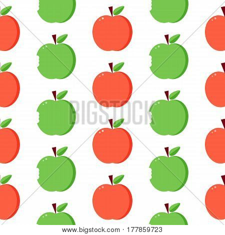 Flat design, vector red and green apples seamless pattern background.