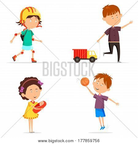 Set of boy and girl playing activity. Schoolboy playing with basketball ball and schoolkid with toy car or lorry, auto, schoolgirl with baby doll and guy on roller-skates in helmet and with bag.