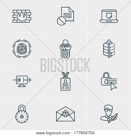 Vector Illustration Of 12 Privacy Icons. Editable Pack Of Confidentiality Options, Safe Lock, Network Protection And Other Elements.