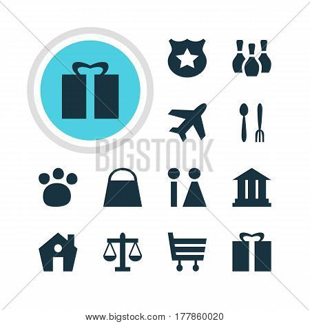 Vector Illustration Of 12 Check-In Icons. Editable Pack Of Present, Pet Shop, Handbag Elements.