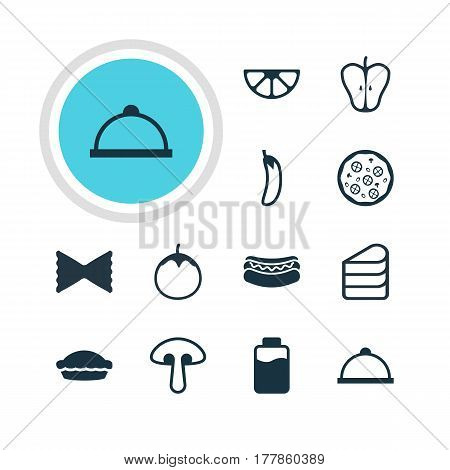 Vector Illustration Of 12 Food Icons. Editable Pack Of Farfalle, Streetfood, Fungus And Other Elements.
