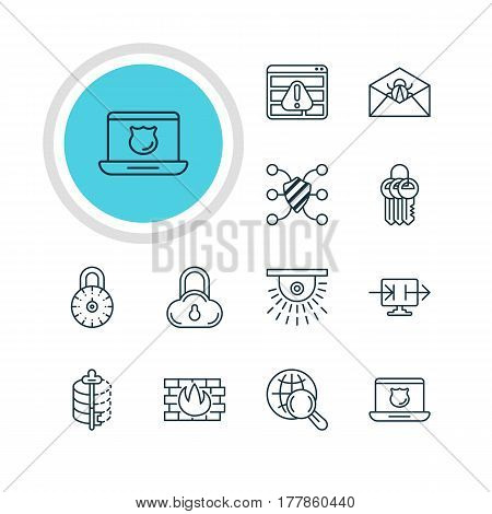 Vector Illustration Of 12 Web Safety Icons. Editable Pack Of Browser Warning, Network Protection, Safe Storage And Other Elements.