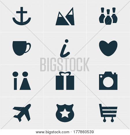 Vector Illustration Of 12 Check-In Icons. Editable Pack Of Skittles, Landscape, Coffee Shop Elements.