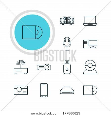 Vector Illustration Of 12 Accessory Icons. Editable Pack Of Smartphone, PC, Memory Storage And Other Elements.