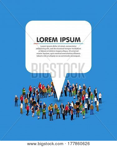 Large group of people in the shape of circle with white information pointer. Vector illustration