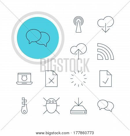 Vector Illustration Of 12 Network Icons. Editable Pack Of Secure Laptop, Checked Note, Waiting And Other Elements.