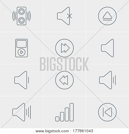 Vector Illustration Of 12 Music Icons. Editable Pack Of Advanced, Rewind, Volume Up And Other Elements.