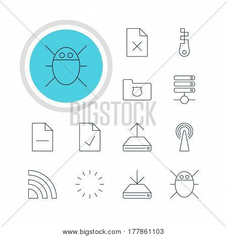 Vector Illustration Of 12 Network Icons. Editable Pack Of Information Load, Router, Waiting And Other Elements.