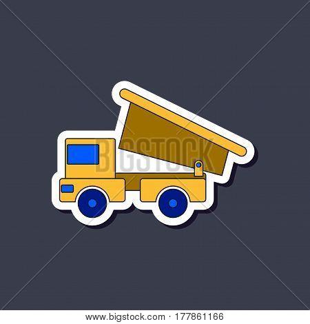 paper sticker on stylish background of Kids toy truck