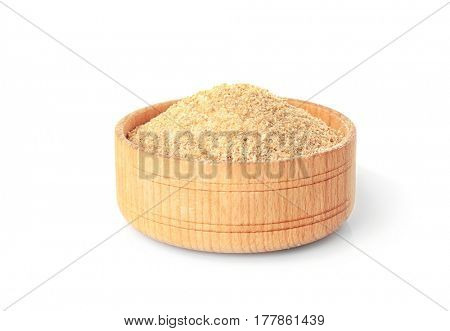 Bowl with bread crumbs isolated on white