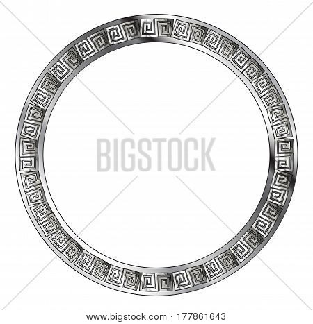 A silver circular pattern in a semi celtic style