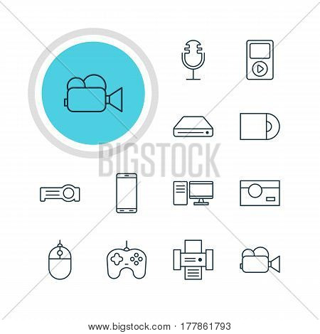 Vector Illustration Of 12 Hardware Icons. Editable Pack Of Dvd Drive, Joypad, Sound Recording And Other Elements.