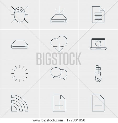 Vector Illustration Of 12 Network Icons. Editable Pack Of Computer Virus, Talking, Waiting And Other Elements.