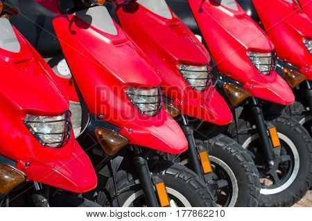 red scooters or motorcycles for sale or hire standing in row with wheels and lights sunny day outdoor hiring transportation traveling