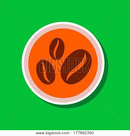 paper sticker on stylish background of beans coffee logo