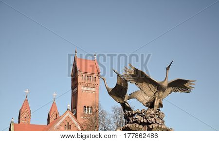 MINSK BELARUS - March 23 2017. Two iron stork on Independence Square in Minsk