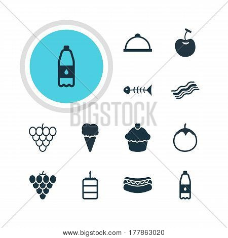 Vector Illustration Of 12 Dish Icons. Editable Pack Of Muscat, Vineyard, Ham And Other Elements.