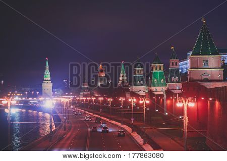 View of Red Square, Moscow, Russia, with State Historical Museum, Spasskaya Tower, Saint Basil's Cathedral and Lenin's Mausoleum
