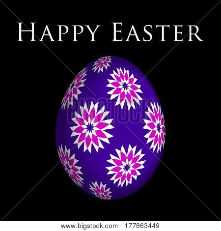 Easter greeting card - purple pink and white flowers on violet egg in front of a black background