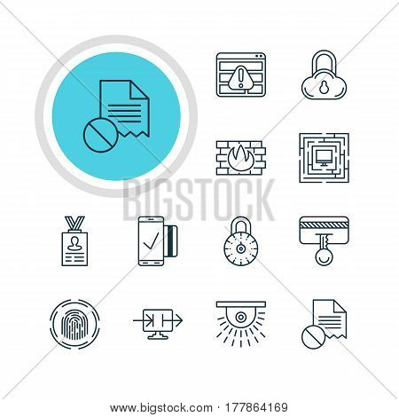 Vector Illustration Of 12 Protection Icons. Editable Pack Of Camera, Network Protection, Safety Key And Other Elements.