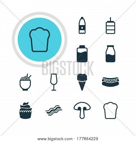 Vector Illustration Of 12 Eating Icons. Editable Pack Of Pastry, Ham, Goblet And Other Elements.