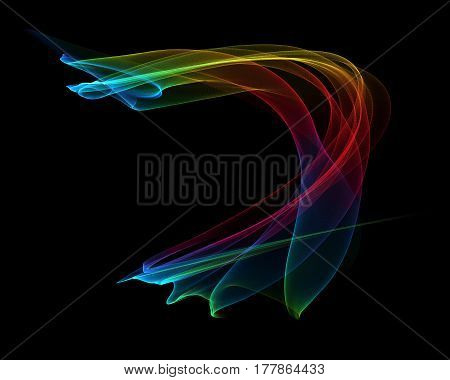 Abstract multicolored smoke on a black background