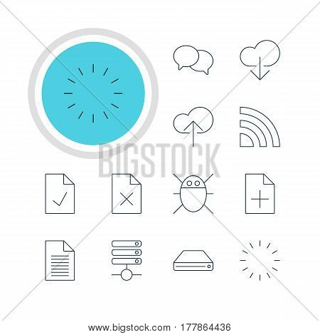 Vector Illustration Of 12 Network Icons. Editable Pack Of Data Upload, Server, Cloud Download And Other Elements.