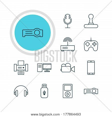 Vector Illustration Of 12 Gadget Icons. Editable Pack Of Headset, Smartphone, Game Controller And Other Elements.