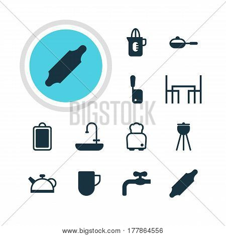 Vector Illustration Of 12 Kitchenware Icons. Editable Pack Of Teakettle, Tea Cup, Barbecue And Other Elements.