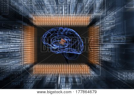 schematic of human brain and computers motherboard, artificial-intelligence