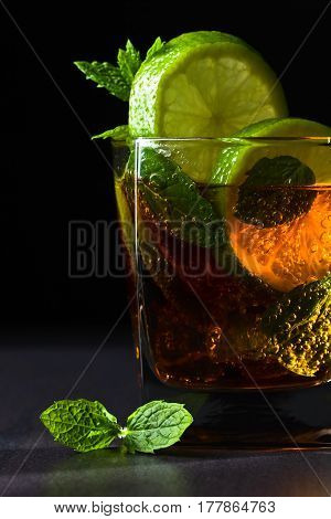 Cola With Lime , Ice  And Peppermint