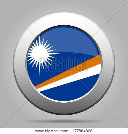 National flag of Marshall Islands. Shiny metal gray round button with shadow.
