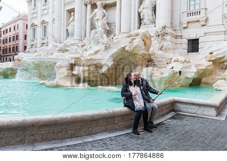 Tourists At Fontana Di Trevi