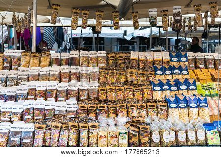 Rome Italy - February 3 2017: Large selection of pasta on Campo de' Fiori market on February 3 2017 in Rome Italy