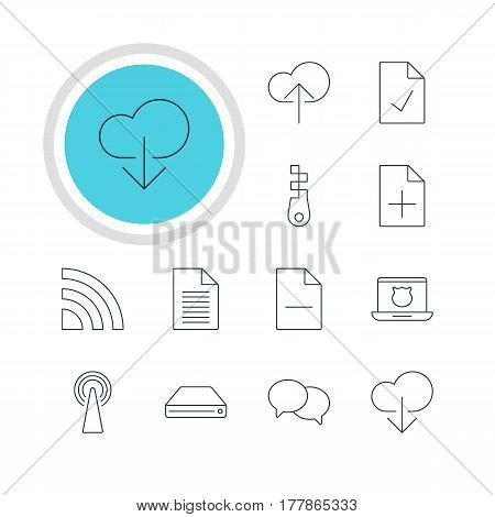 Vector Illustration Of 12 Web Icons. Editable Pack Of Document Adding, Hard Drive Disk, Fastener And Other Elements.