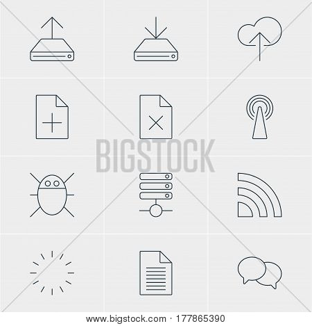 Vector Illustration Of 12 Network Icons. Editable Pack Of Server, Cloud Download, Note And Other Elements.