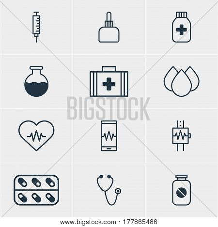 Vector Illustration Of 12 Medical Icons. Editable Pack Of Medicine Jar, Medicine, Heart Rhythm And Other Elements.