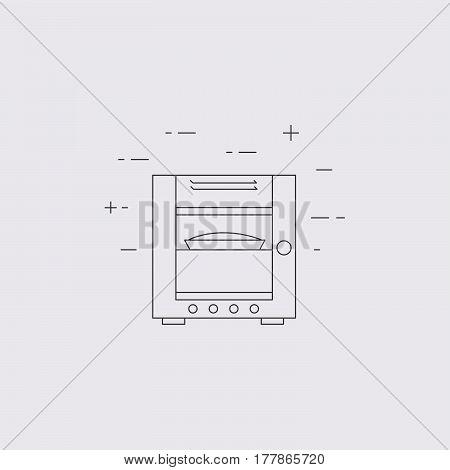 Combi Oven Steamer Line Icon.